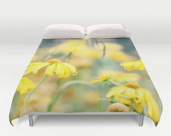 Floral Duvet, Duvet Covers, Duvet Cover, Yellow Flowers, Queen, Dream Photo, Home Decor, Bedding, Bedroom Decor, Yellow and Blue, King Duvet