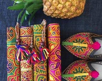 Banjara embroidery wallet/ vintage Indian Banjara fabric  wallet/hand embroidered Multicolors wallet/ Gypsy Boho wallet by Inali