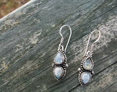 Vintage Antique Sterling Silver Gorgeous Blue Flash Rainbow Double Moonstone Dangle Earrings On Sale