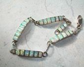 Gorgeous Vintage Sterling Silver 925 Opal 7.5 inch Bracelet