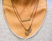 Mom and Children Personalized Necklace, Layered Small Initial Necklace, Mama Mother's Day Gift