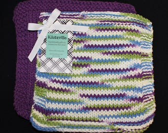 Hand Knit Cotton Wash Cloth Set of 2 Purple and Wild Berry Stripes