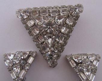 Vintage Rhinestone Triangular Shaped Pin and Earrings