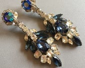 Massive Showgirl Earrings Long Rhinestone Earrings Vintage Navy Blue and Clear rhinestones in silver over 3 inches long shoulder dusters
