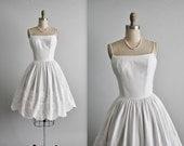 STOREWIDE SALE 50's White Dress // Vintage 1950's White Pique Cotton Lace Full Garden Party Dress XS