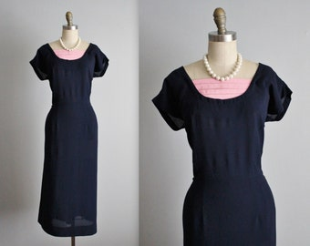 40's Dress // Vintage 1940's Navy Rayon Casual Swing Day Dress L XL