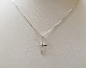 Hammered Silver Cross, Small Silver Cross, Simple Silver Cross, Cross Pendant, Silver Cross Necklace, Simple Cross Pendant