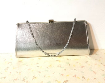 Vintage Silver Clutch Purse Retro Rockabilly Pin Up Clutch Purse