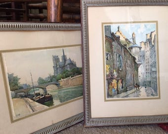 Pair of Vintage Framed Post Cards of Paris