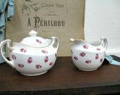 Antique Jackson Gosling Floral Creamer Sugar Cottage Chic Pink Roses on White Ye Olde English