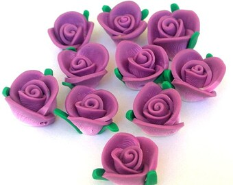 10 plum purple flower beads, polymer clay roses, about 13x9mm
