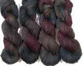Hand Dyed Yarn 'Overturned Beet Truck' 328 yards, pure yak, DK weight