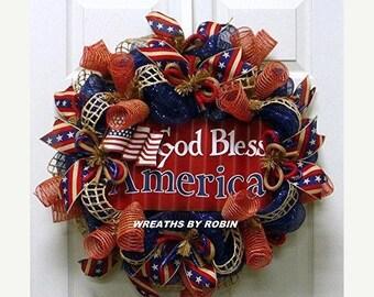 10% OFF Metal Flag God Bless America, RWB Wreaths, Patriotic Wreaths (2757)