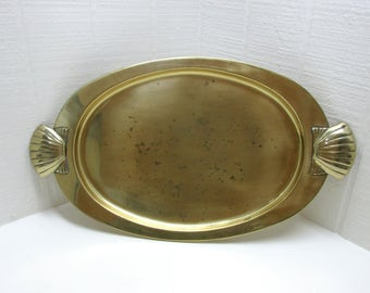 Vintage Solid Brass Clam Shell Serving Tray Oval Serving Tray Nautical Decor Clam Shell Handles