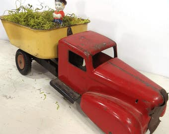 Vintage Wyandotte Dump Truck, Red & Yellow, Toy Truck Collectible, Gift for HIM, Industrial Toy