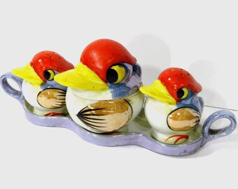 Vintage Lusterware Duck Bird Condiment Set on Tray, 4 Pieces, Salt & Pepper, Jam Jar, Tray, Kookaburra Bird