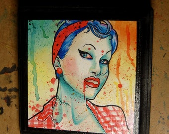 5x5 in Art Block Plaque - Ready to Hang Art Print Mounted on Wood - Zombie Doll