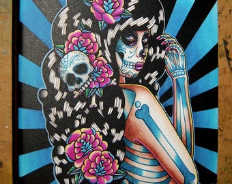 8x8 in Square Stretched Canvas Print - Midnight Motif - Tattoo Flash Day of the Dead Sugar Skull Girl Lowbrow Home Decor