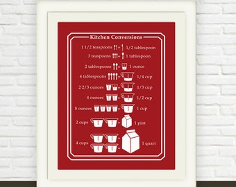 Red Measurement Conversion Chart // Instant JPEG Download // Kitchen Art // Ounces to Cups Cups to Pints // Red Kitchen Print Printable