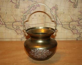 Brass Engraved Pot - item #2461