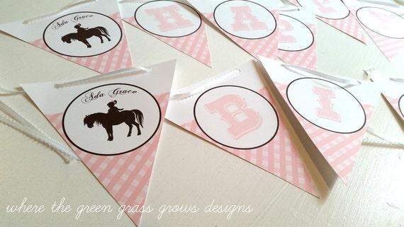 Pony Birthday Banner Gingham