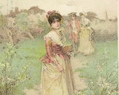 Victorian Trade Card Lennox Soap 1887 – The Village Belle – Beautiful Lady Out For a Summer Stroll