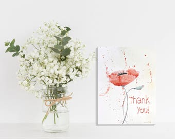 Printable Thank you card Art Print Red Poppies Printable Cards Art, Poppies Watercolor Original Art, Art, Instant Download, Digital File