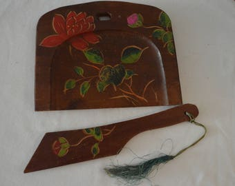 Vintage Handpainted Wooden Table Sweeper Crumb Catcher, Made in Japan
