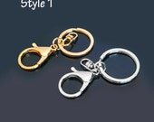 Alloy Key Chain Key Ring Keychain Finding Lobster 12 Pieces Gold / Silver Tone Style 1