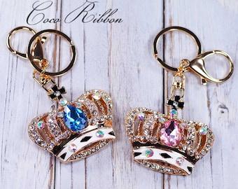 Rhinestone Crown Alloy Handbag Purse Key Chain Key Ring Keychain H16