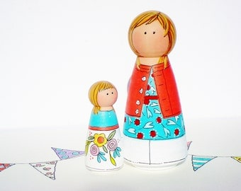 Peg Doll Play Set, Mother and Daughter