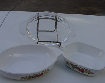 Vintage Corning Ware Spice of Life Pattern Individual Casserole and Oval Covered Casserole