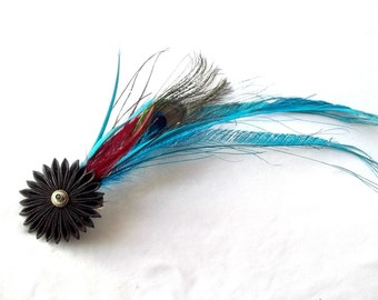 Theatrical Feather Fascinator with Black Kanzashi Flower Turquoise Red