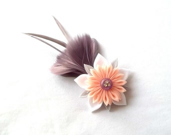 Cute Mauve Feather Fascinator with Peach Kanzashi Flower