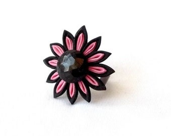 Cute Pink and Black Statement Ring Tsumami Kanzashi Flower