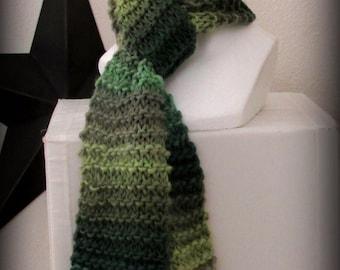 Scarf - green scarf - hand knit scarf - knit scarf - green knit scarf - wool knit scarf - soft knit scarf - merino wool scarf - ruffle scarf