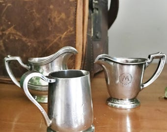 Set of 3 Vintage Silver Plated Hotel and Department Store Creamers