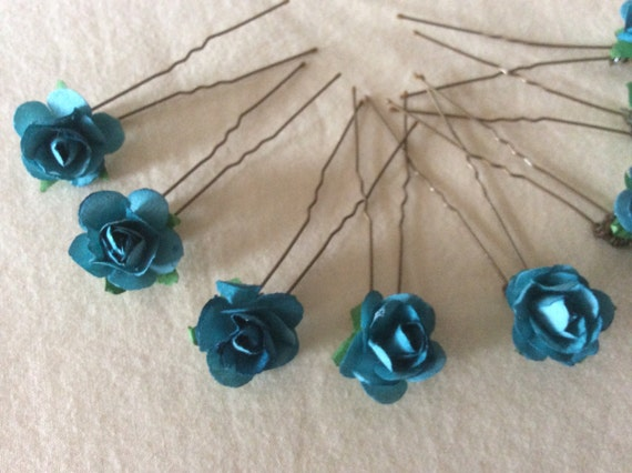 Teal Rose Hairpins x 8. Wedding, Bridal, Prom