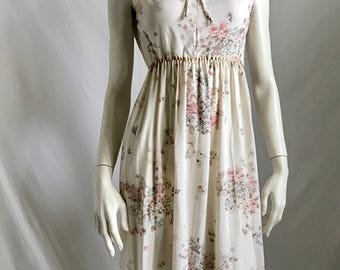 70's Soft and Sweet Gypsy Hippie Boho Beige Maxi With Mini Floral Pattern