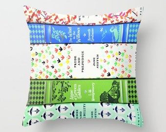 Bookish Throw Pillow - Pretty Colorful Books - Bookworm Decor - Bibliophile - Book Spines - Book Photography - Fine Art