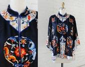 ON HOLD Silk Robe Jacket  • 40s Embroidered Jacket • Vintage Robe • Floral Robe • Asian Robe • Duster Robe with Mandarin Collar | O319