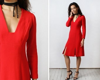 Pauline Trigere Dress S • 60s Mod Dress • Wool Dress • Red Dress • Winter Dress • Holiday Dress • V Neck Dress • 60s Dress | D1122