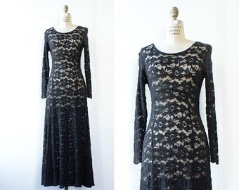 Lace Maxi Dress S/M • 90s Dress • Vintage Maxi Dress • Black Lace Dress • 90s Maxi Dress • 90s Goth Long Sleeve Maxi Dress | D1171