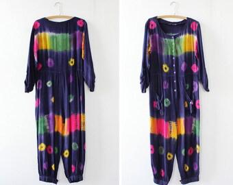 Tie Dye Jumpsuit • Rainbow Jumpsuit • 80s Jumpsuit • Vintage Jumpsuit • Harem Jumpsuit • Tie Dye Clothing | D1090