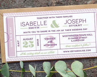 Ticket Wedding Invitation / 'Typography Ticket' Admission Ticket Wedding Invite / Boarding Pass / Dusty Lilac Mauve Plum Sage / ONE SAMPLE