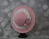 Tea Party Hat; Pink Easter Bonnet with Boa; Girls Sun Hat; Pink Easter Hat; Sunday Dress Hat; Derby Hat; 16303