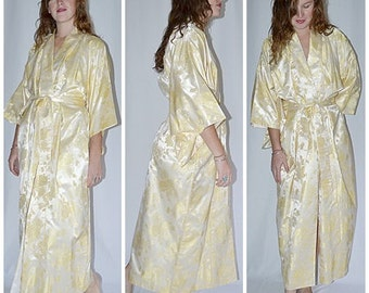 Vintage Pale Gold Satin Brocade Japanese Kimono With Metallic Gold Threads Woven In Bust to 50 Inches