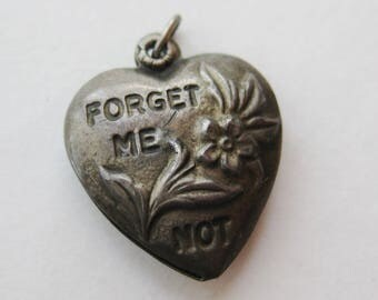 Vintage Charm Sterling Silver Forget Me Not Repousse Puffy Heart Bracelet Charm Pendant