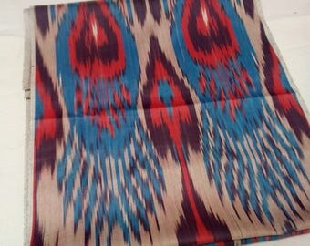 Uzbek traditional handwoven cotton ikat fabric by meter