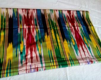 Uzbek vintage silk ikat fabric Han atlas 265cm. VI008